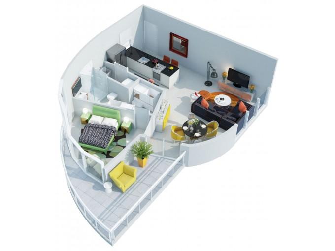 Apartamento de 1 hab de 42 mt en Juan Dolio en Construccion