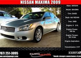 NISSAN MAXIMA V6 2009
