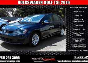 VOLKSWAGEN GOLF SE 18L TURBO 2016